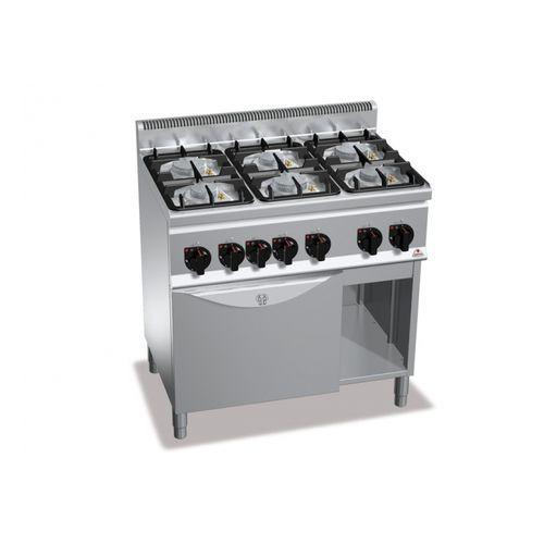 Cucina professionale a gas 6 fuochi con forno 3Kw eco power