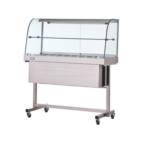Vetrina calda con carrello e mensola vetri curvi 170x70x140