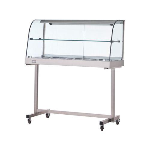 Vetrina fredda con carrello vetri curvi 120x63x136